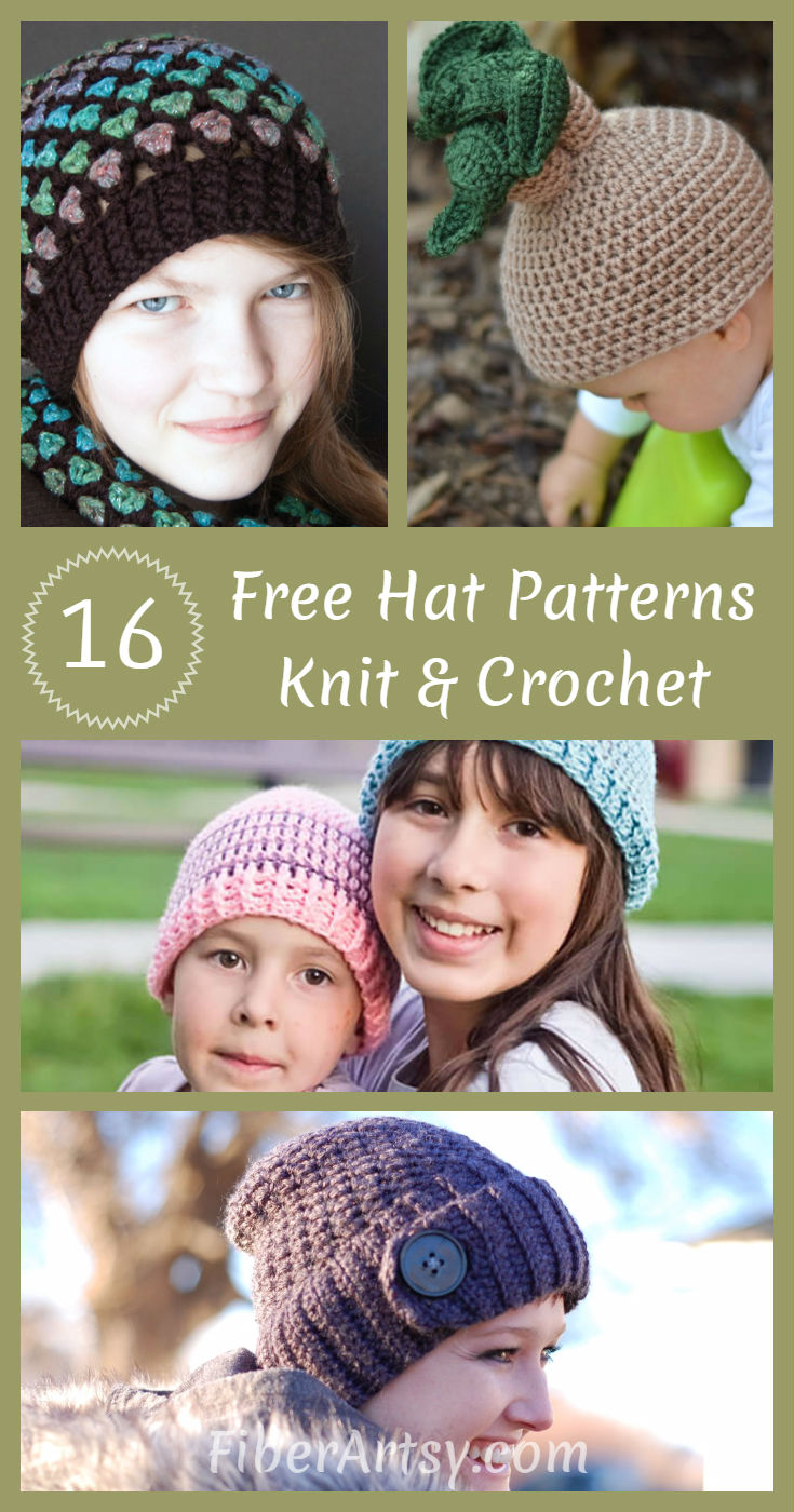 16 Hat Patterns for Knit and Crochet by Fiberartsy.com