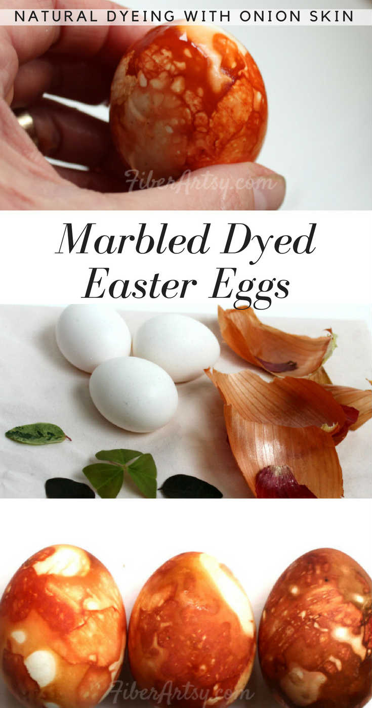 Marble Dyed Easter Eggs, a natural dyeing technique using onion skins. A cool Easter craft project that's also a lot of fun for kids. A FiberArtsy.com tutorial
