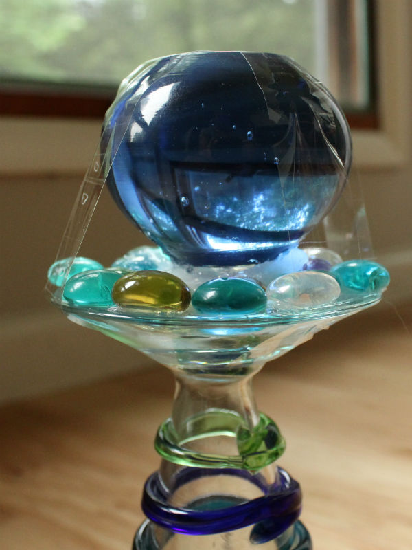 Blue Glass Ball for the top of the garden totem