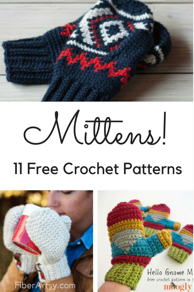 11 Free Patterns for Crochet Mittens - FiberArtsy.com