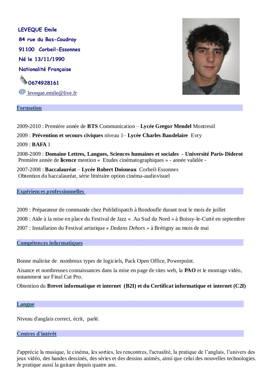 cv exemple etudiant informatique