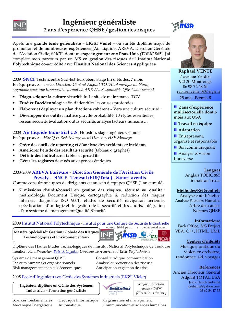 modele cv responsable qse pdf