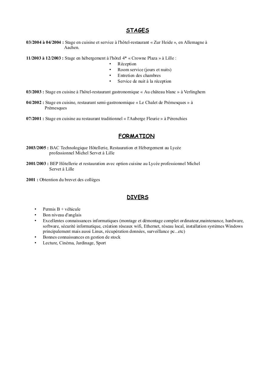 conditionneur cv anglais