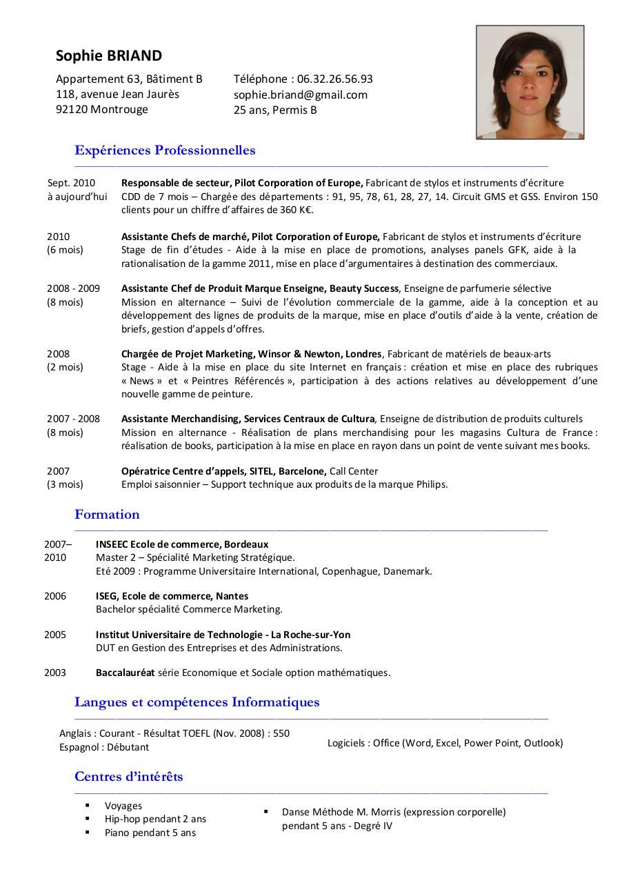 ecole de commerce competences sur cv