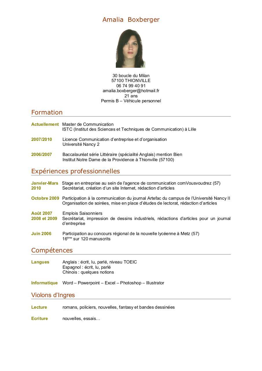 cv emploi saisonnier pdf