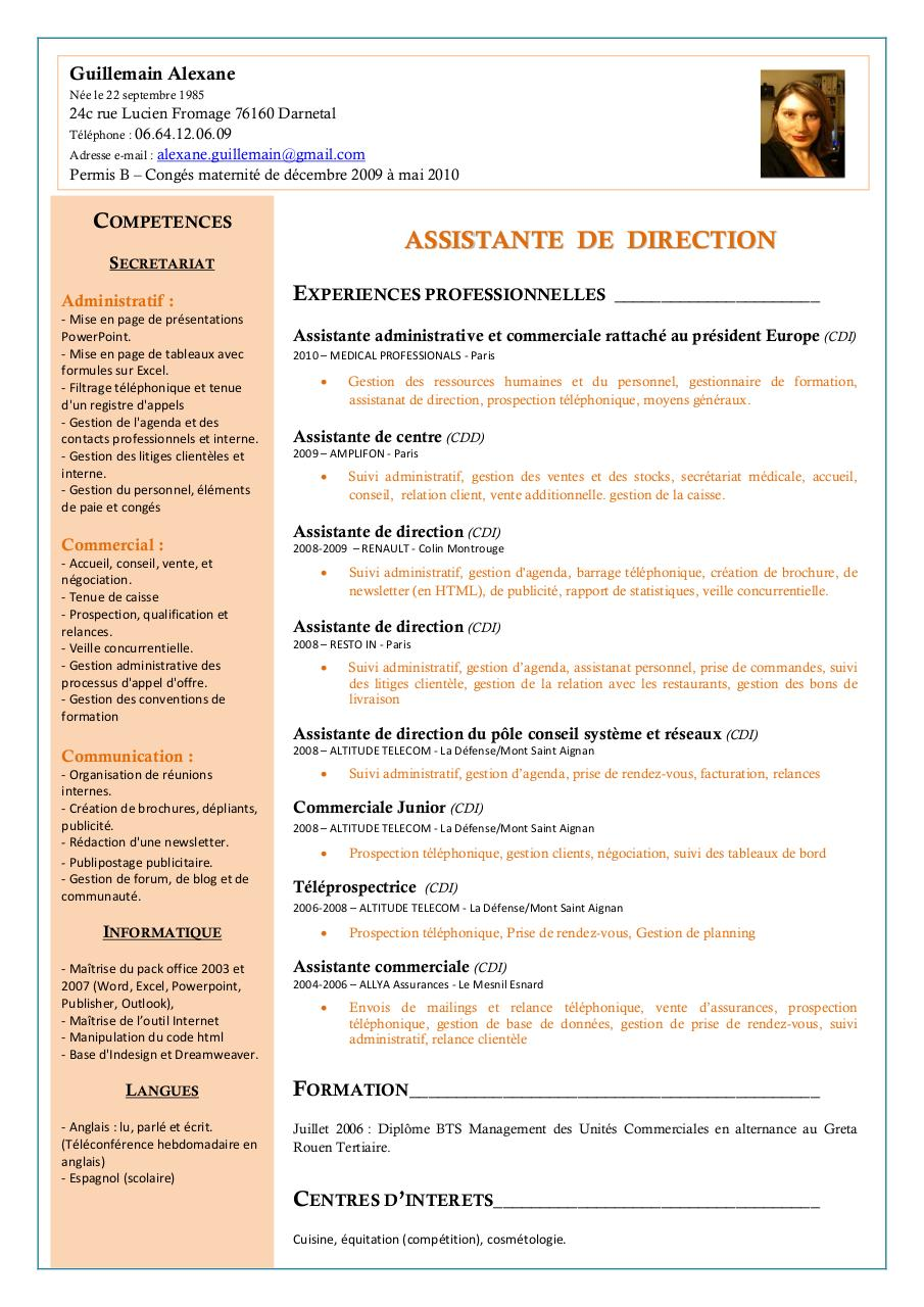 cv type assistante de direction