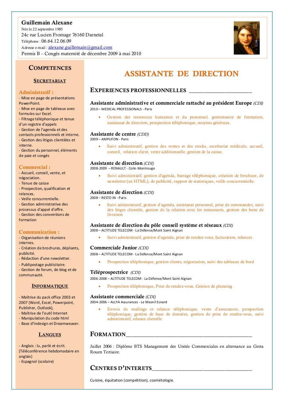 modele cv moderne assistante administrative gratuit