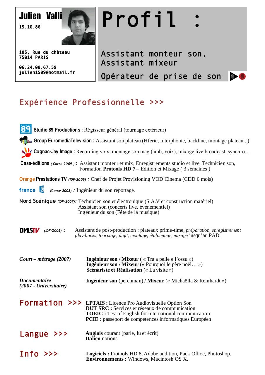 notions informatiques cv