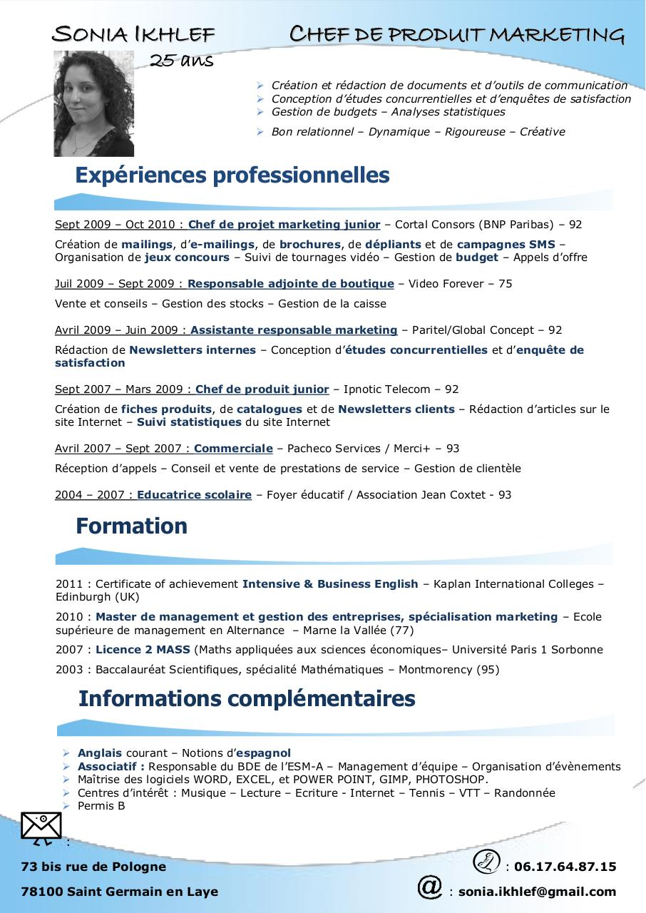 cv chef de produit junior