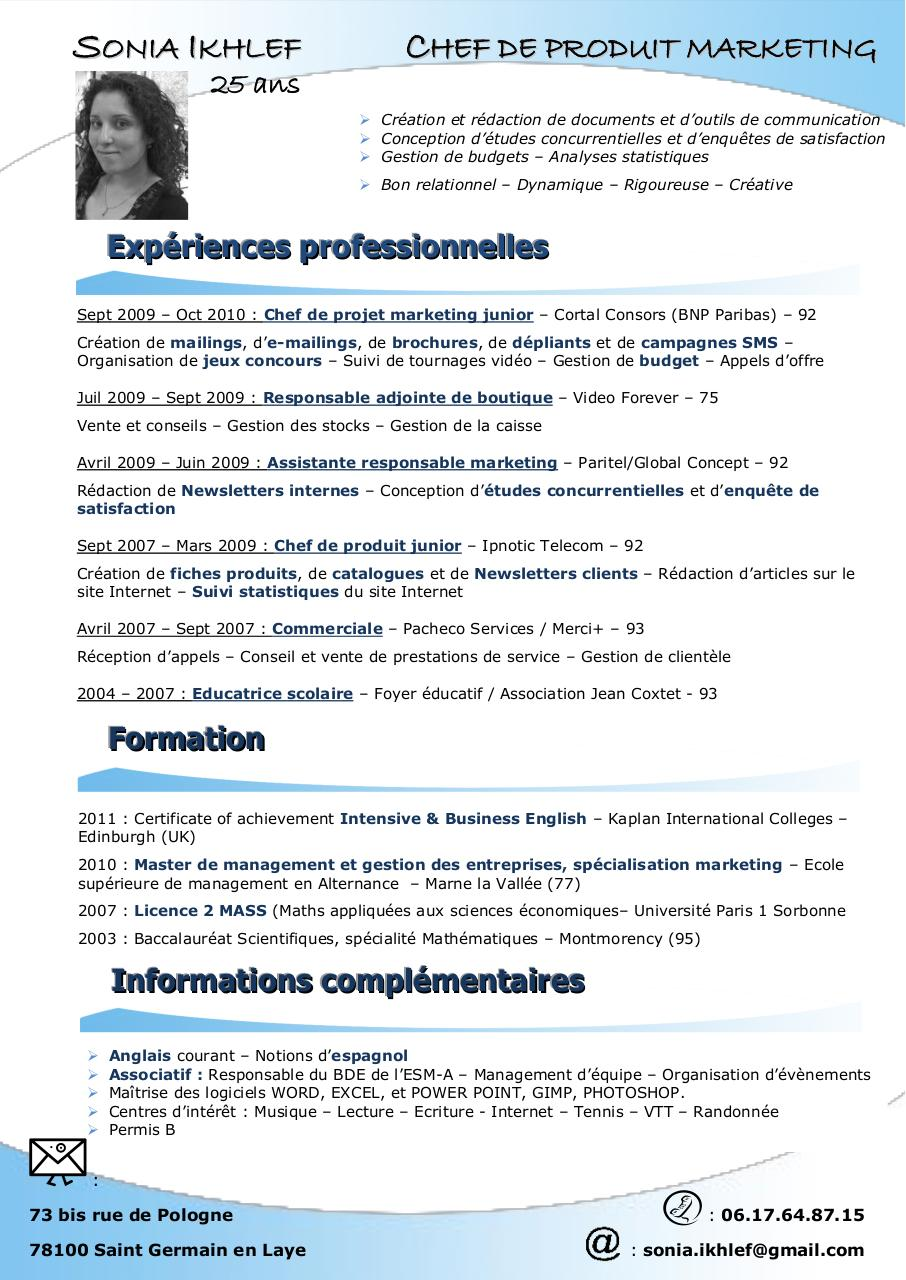cv chef de reception anglais