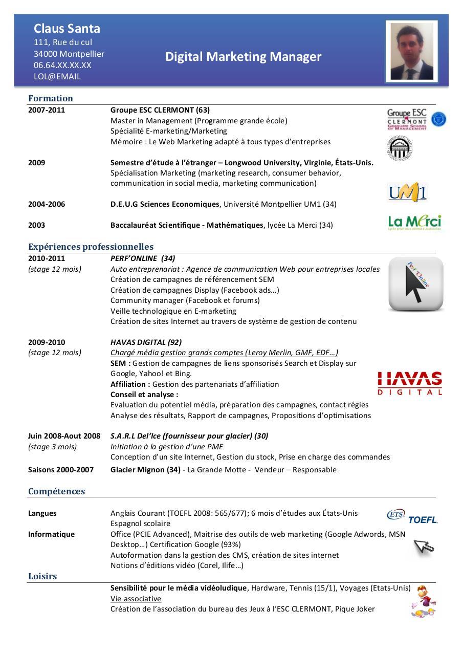 cv pdf sur internet