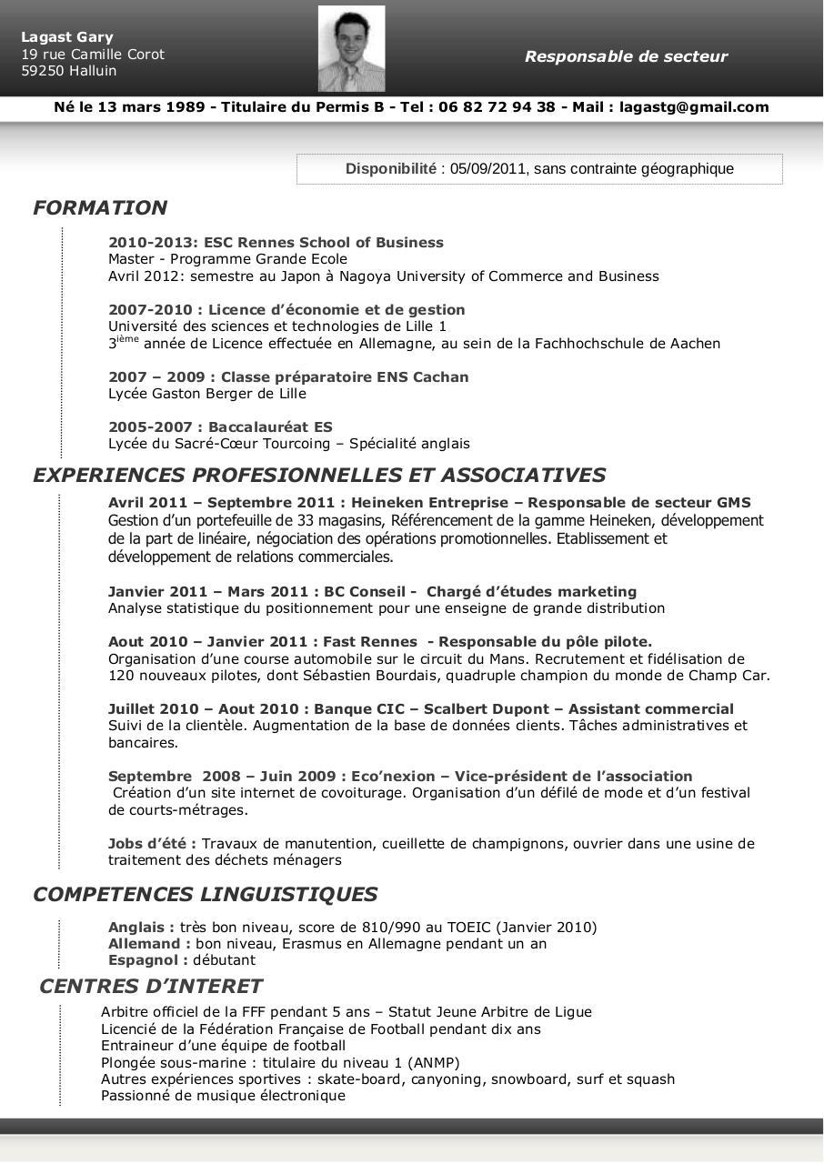 competences et interet cv anglais