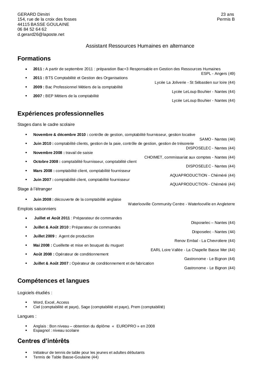 modele de cv agent de conditionnement