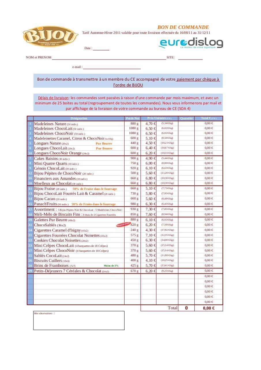 bon de commande à télécharger par EURODISLOG - Fichier PDF