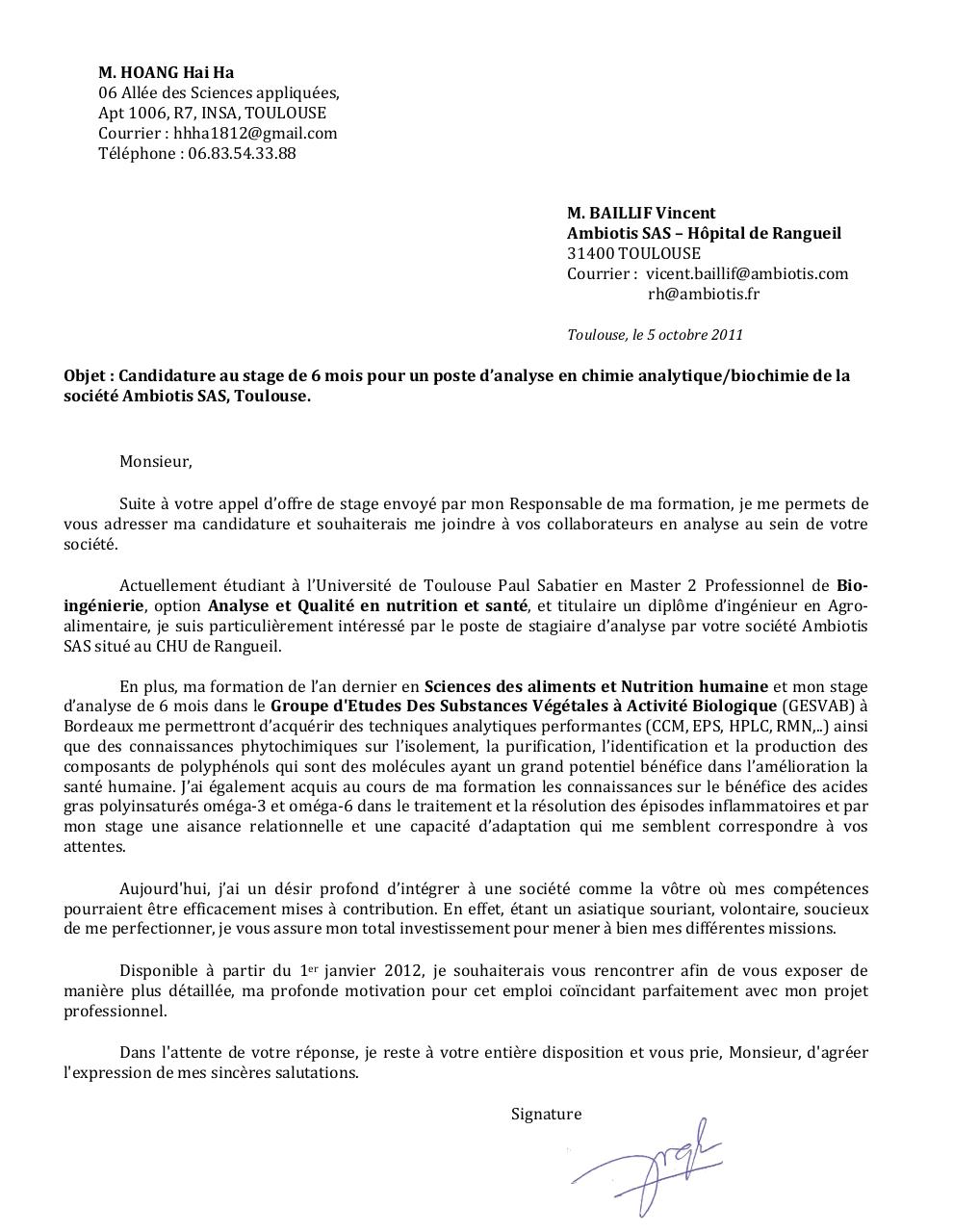 cv candidature licence pdf