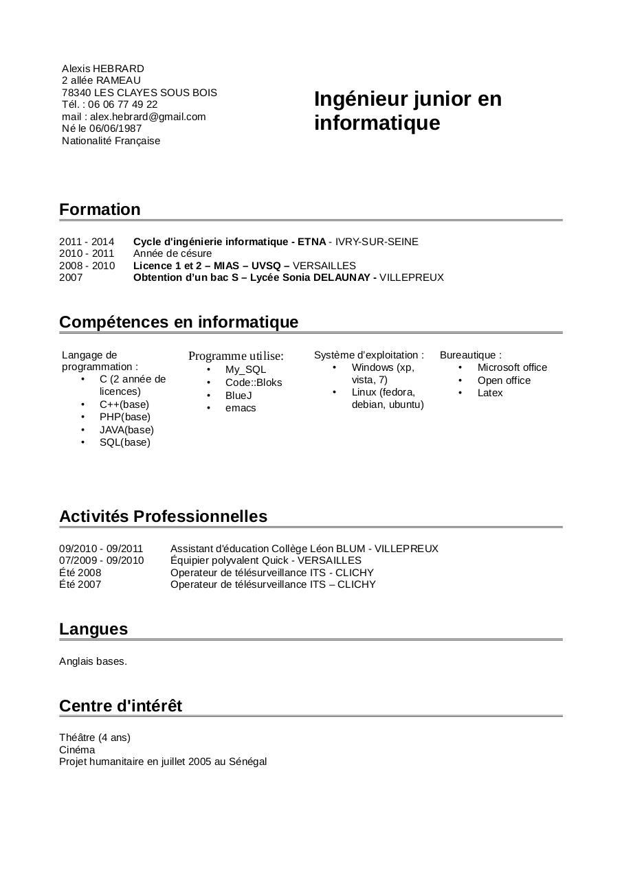 competences cv humanitaire