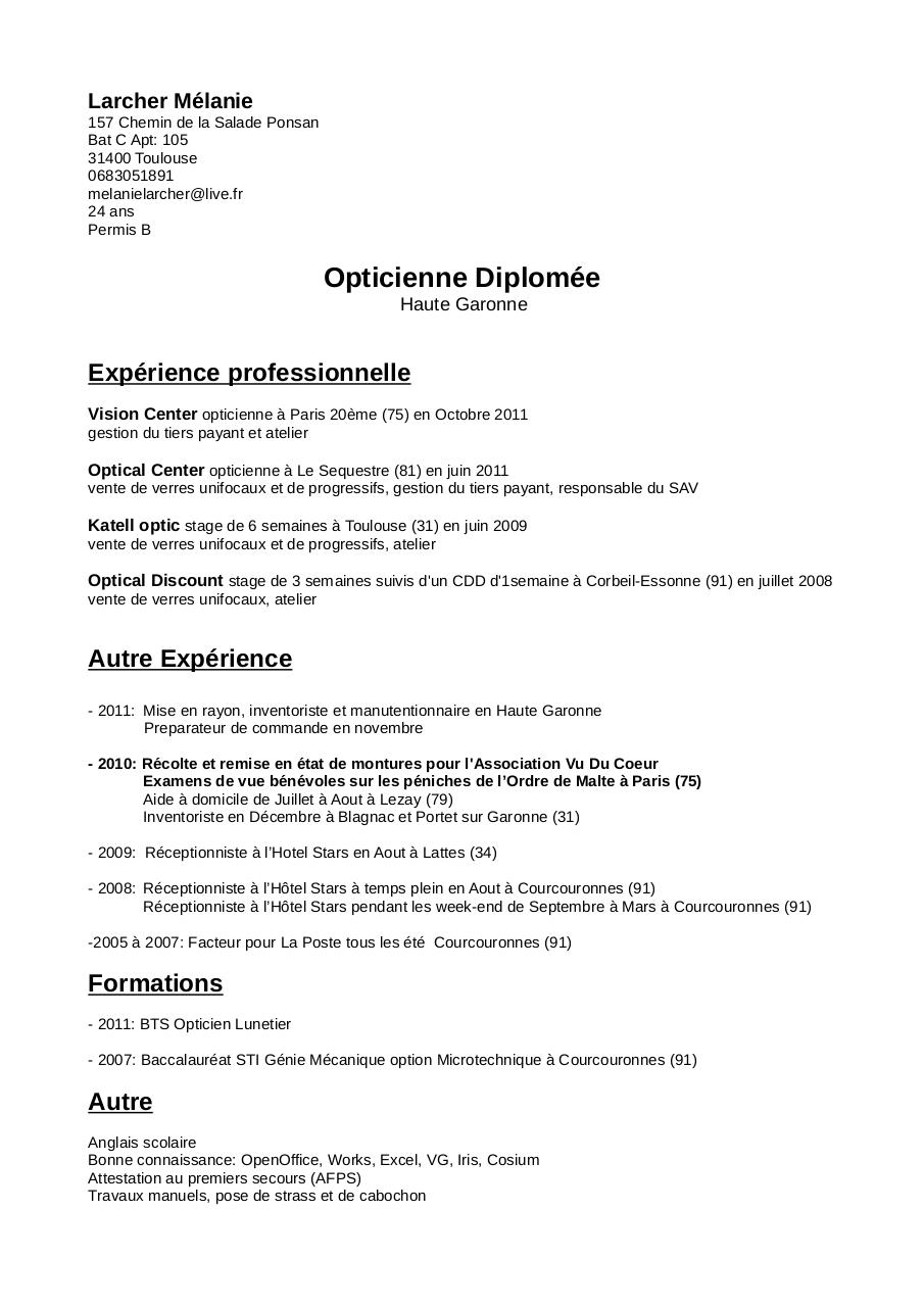 cv de candidature stage