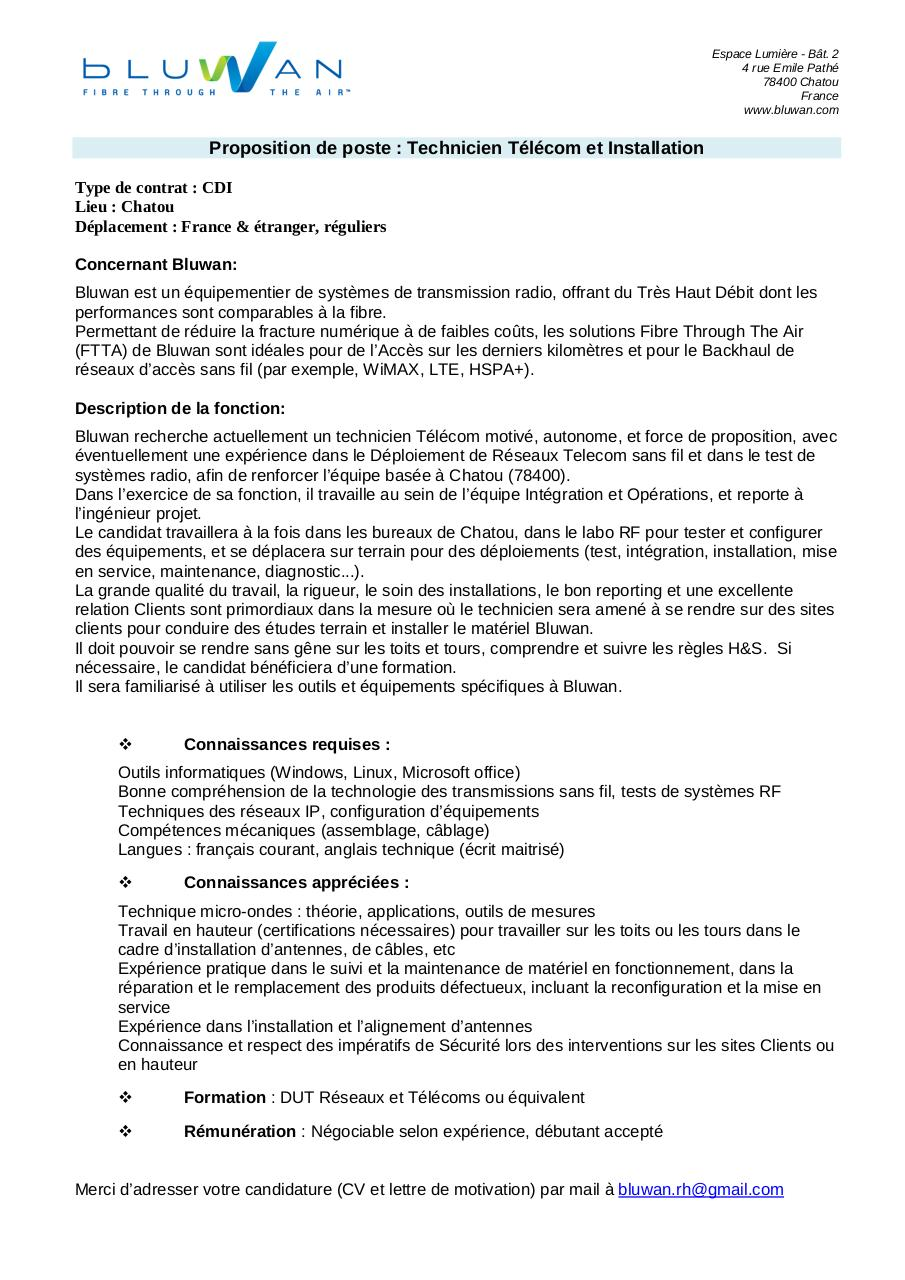 cv technicien informatique debutant