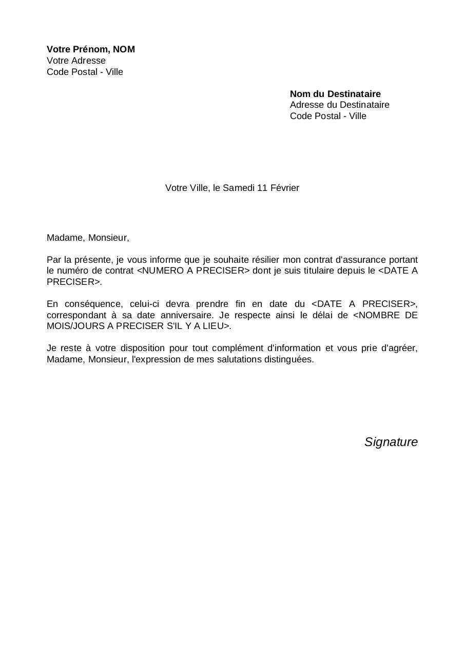 lettre resiliation assurance auto pdf