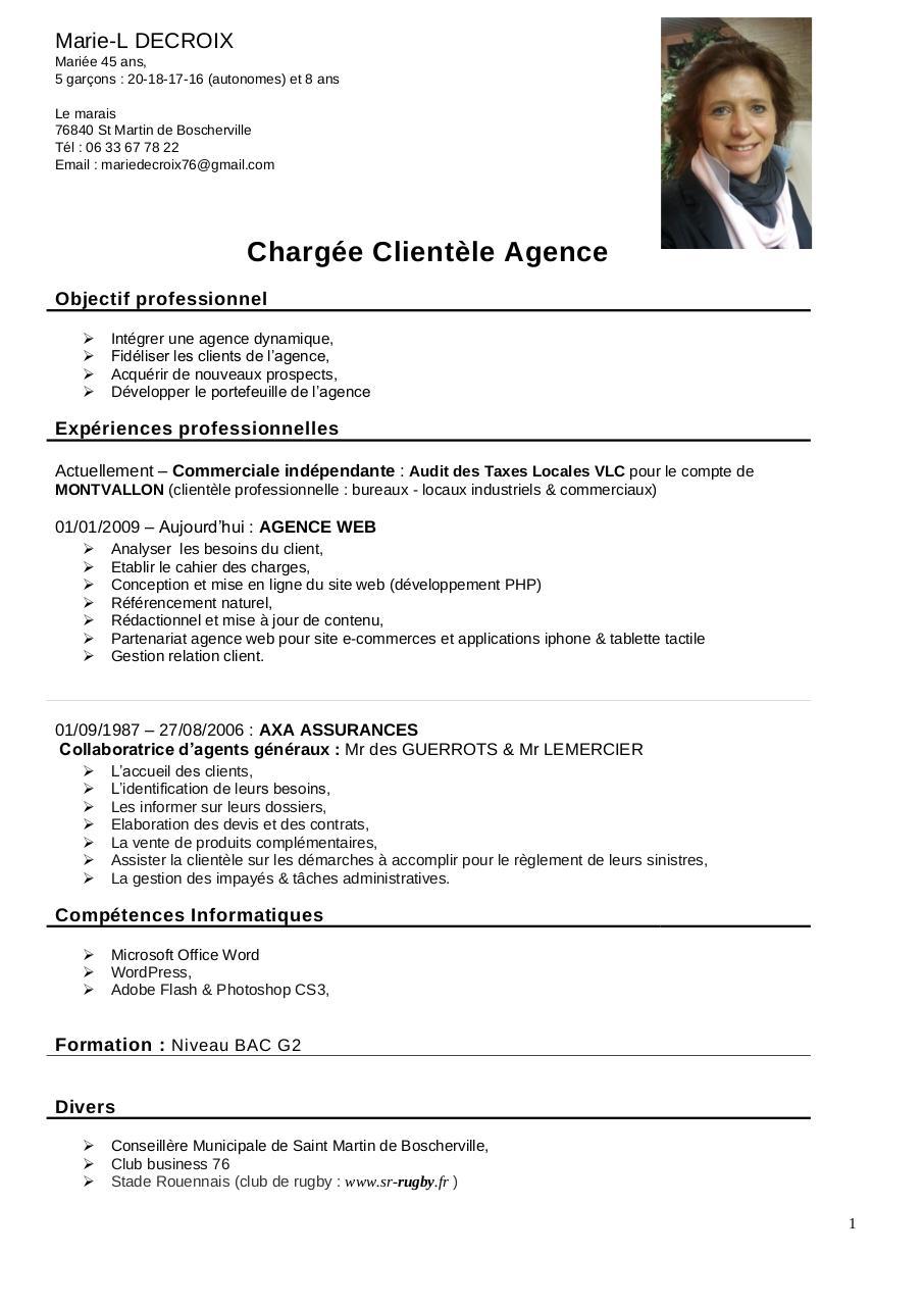 exemple cv charge de clientele assurance