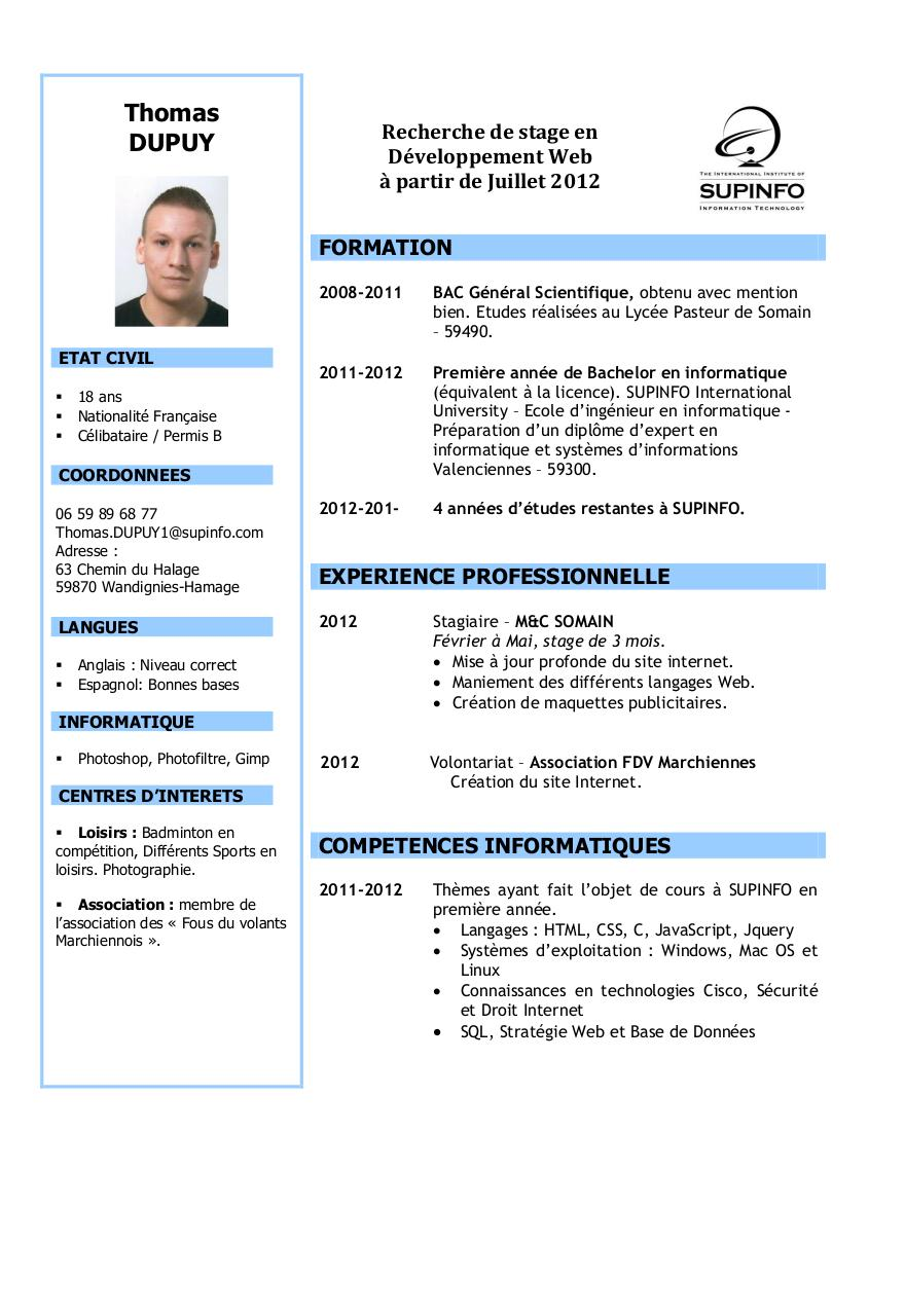 cv securite informatique