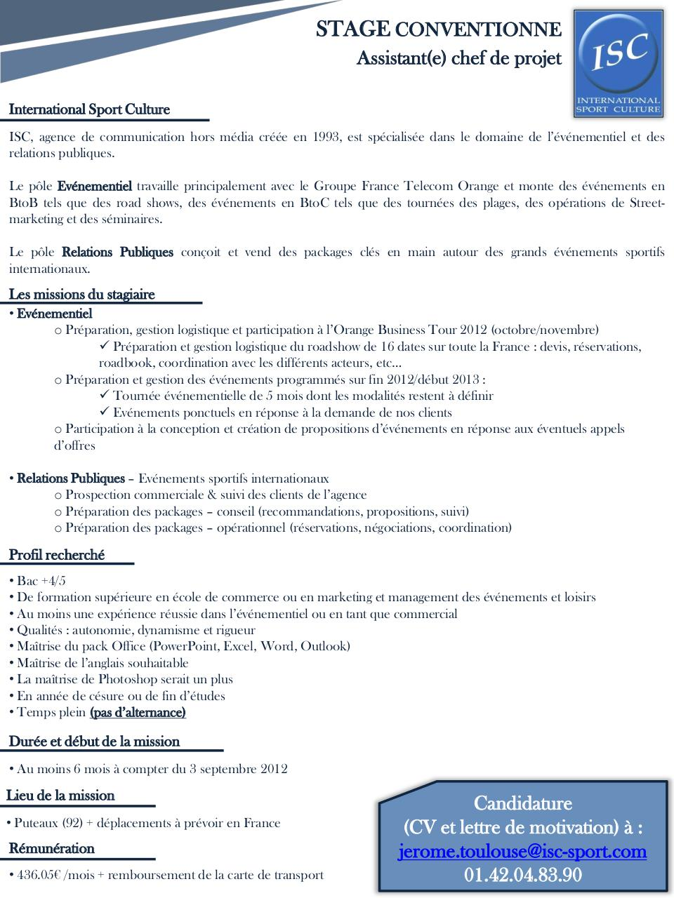 cv assistant chef de projet evenementiel