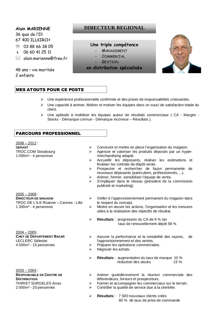 model cv gratuit responsable de rayon
