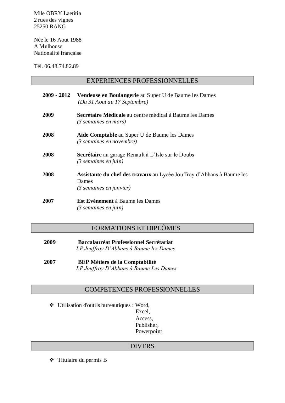 competences professionnelles secretaire cv