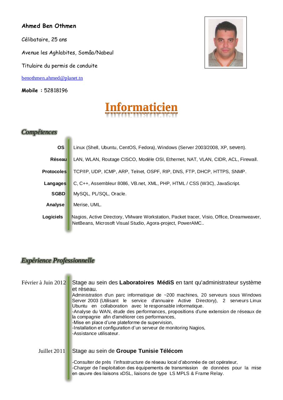 exemple de cv ingenieur