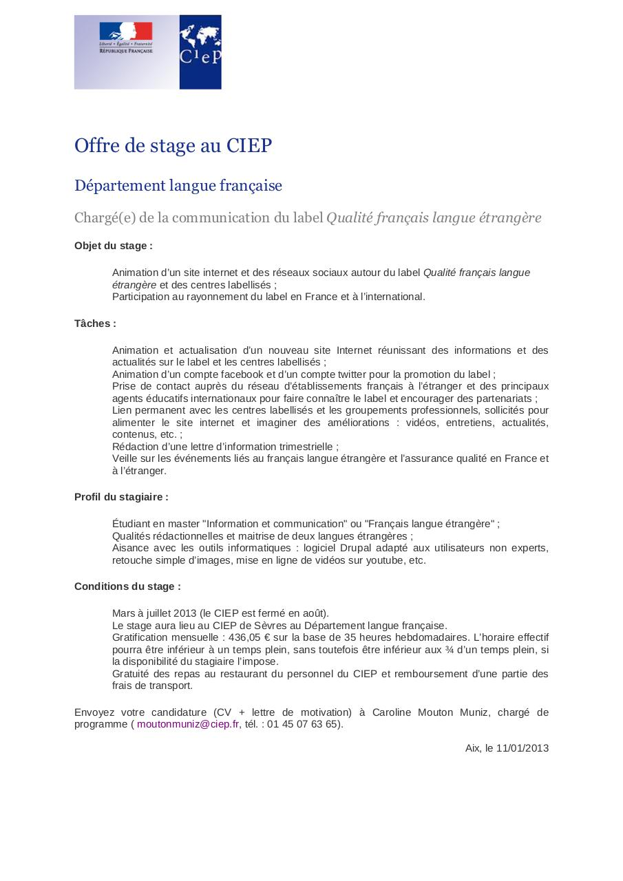 stage offre contact cv