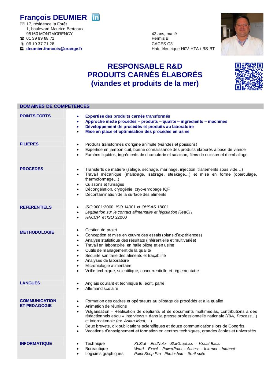 cv ingenieur agronome exemple