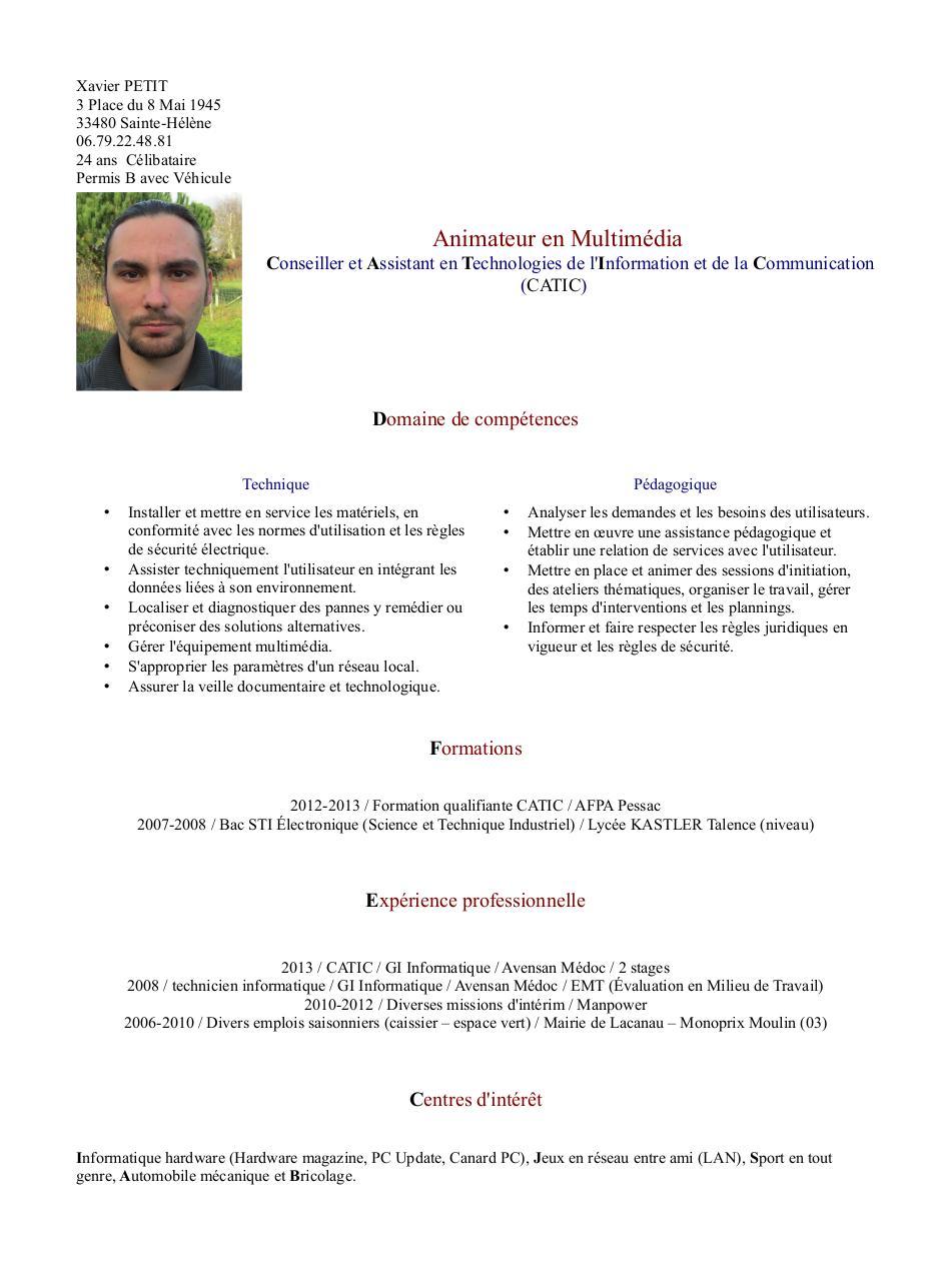 cv reseau informatique pdf