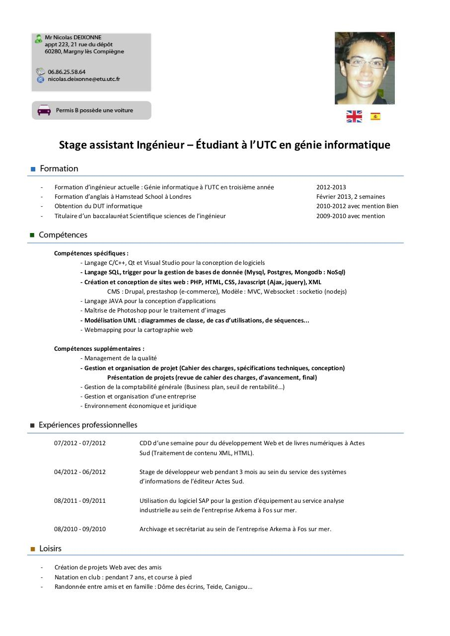 exemple de cv ingenieur informatique pdf