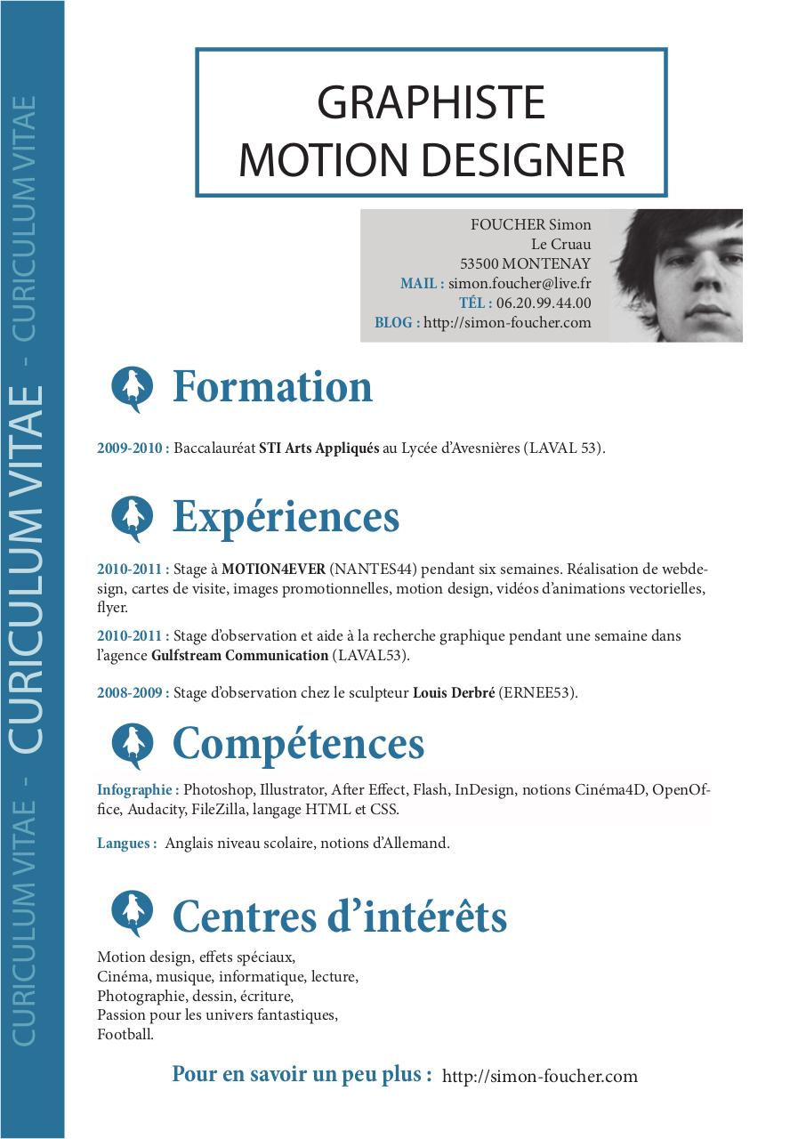 langues cv indesign