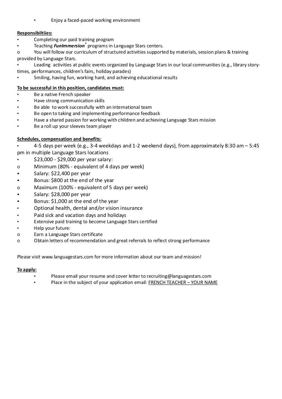 Sample Of Cover Letter For French Teacher Andrian James Blog
