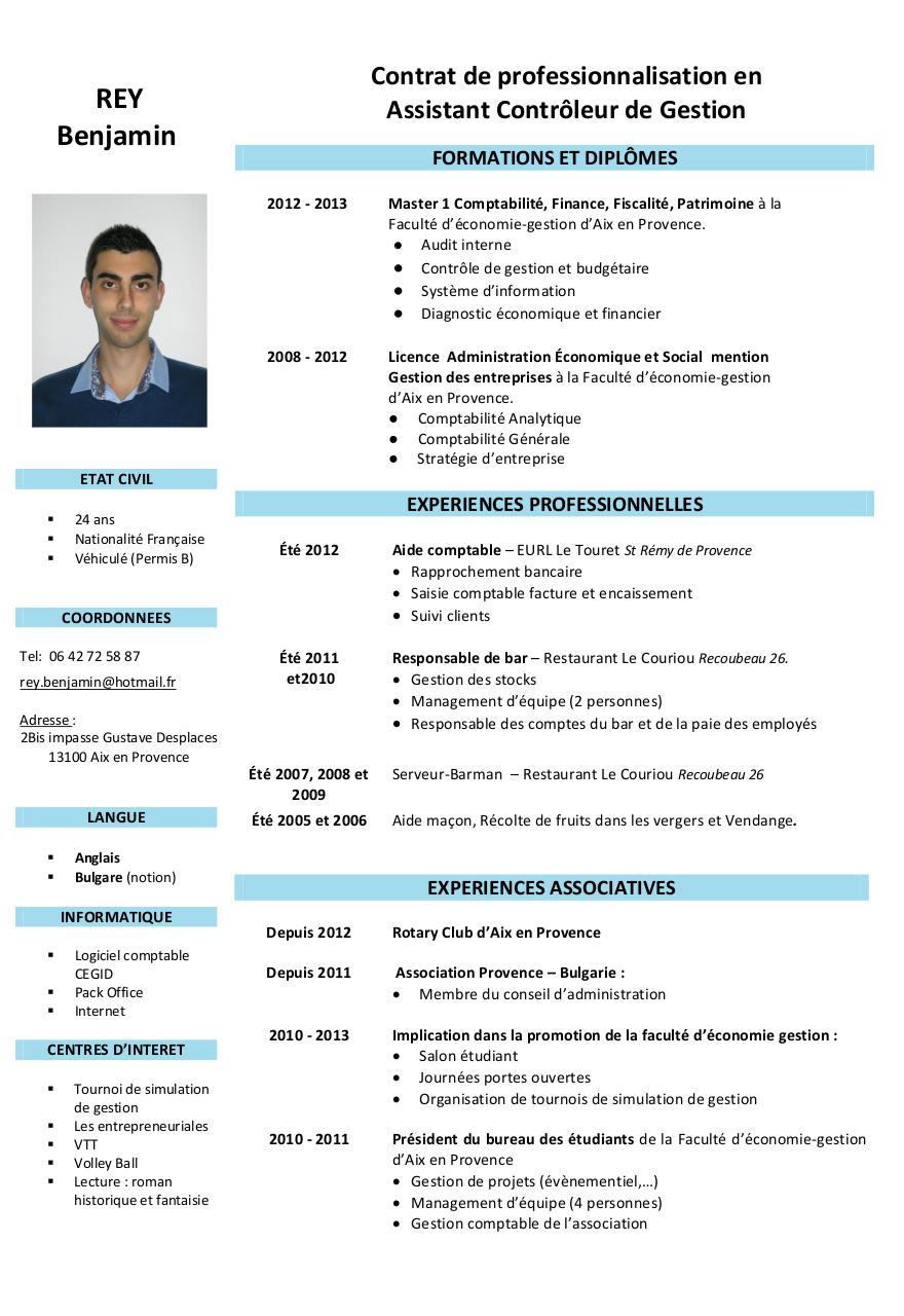 modele cv responsable cotrole de gestion