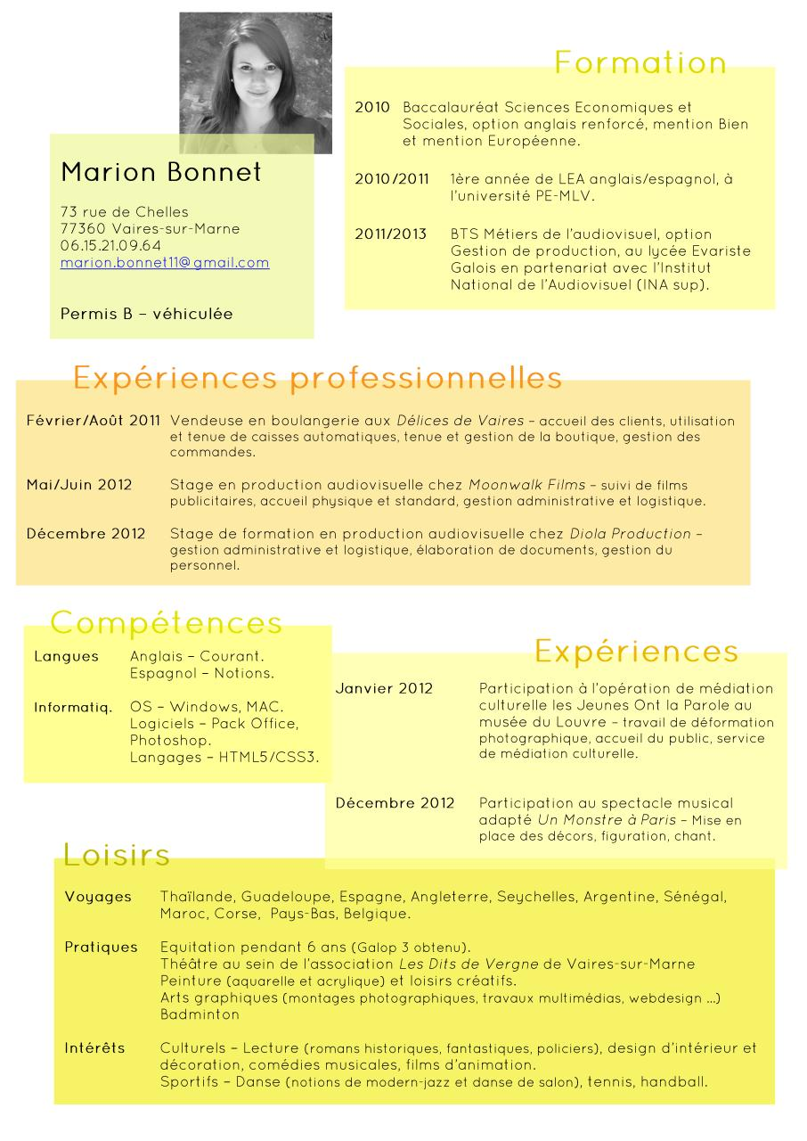code couleurs word cv