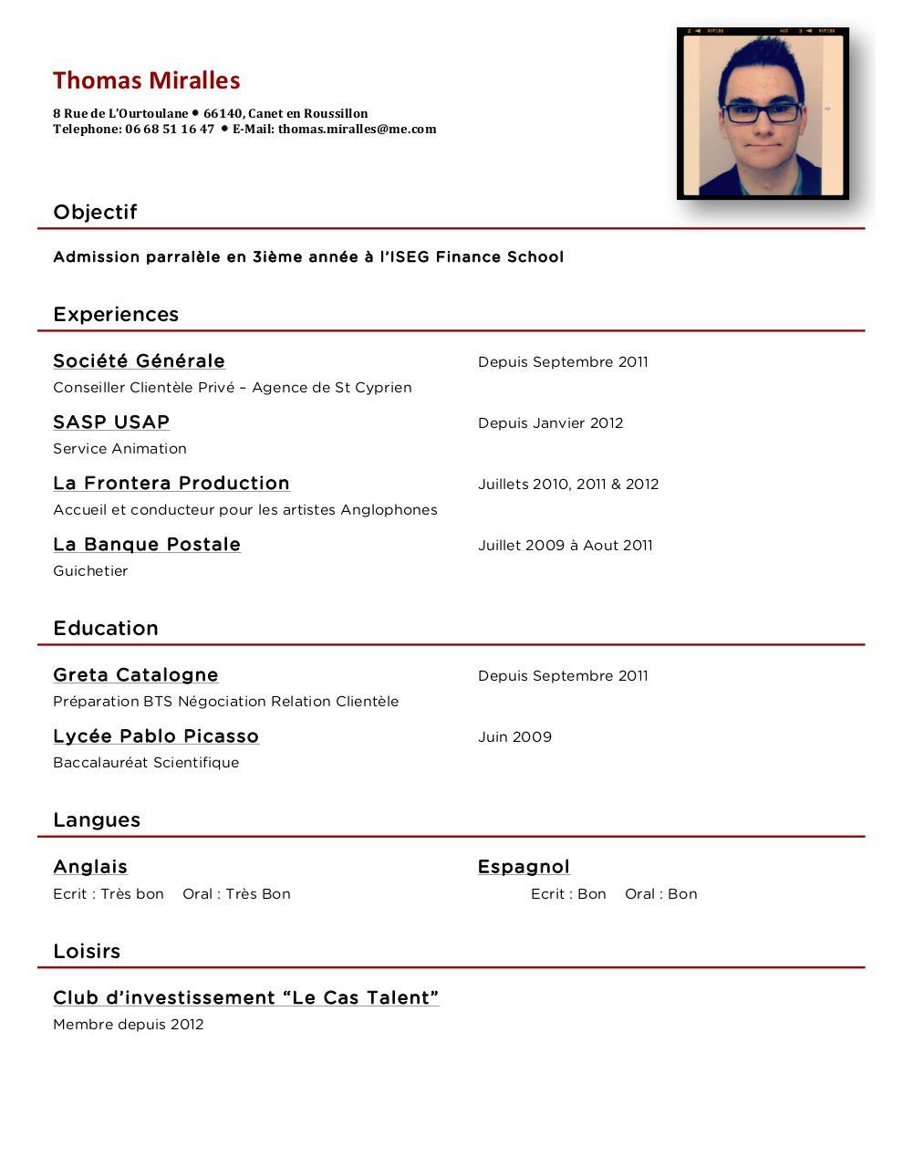 cv pdf guichetier