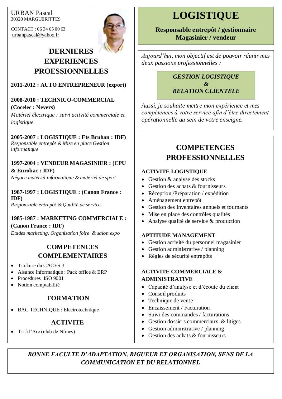 competences cv amenagement