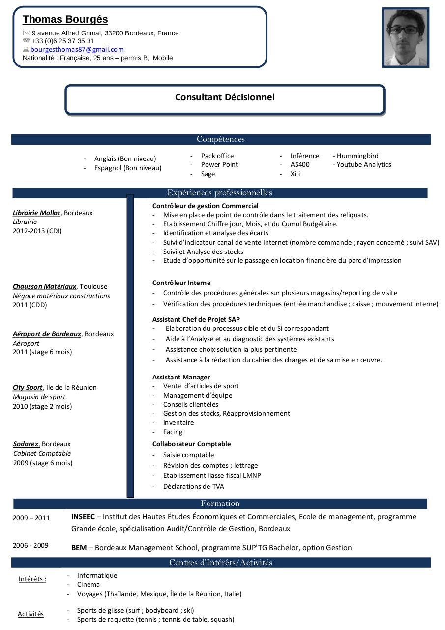 cv consultant junior exemple