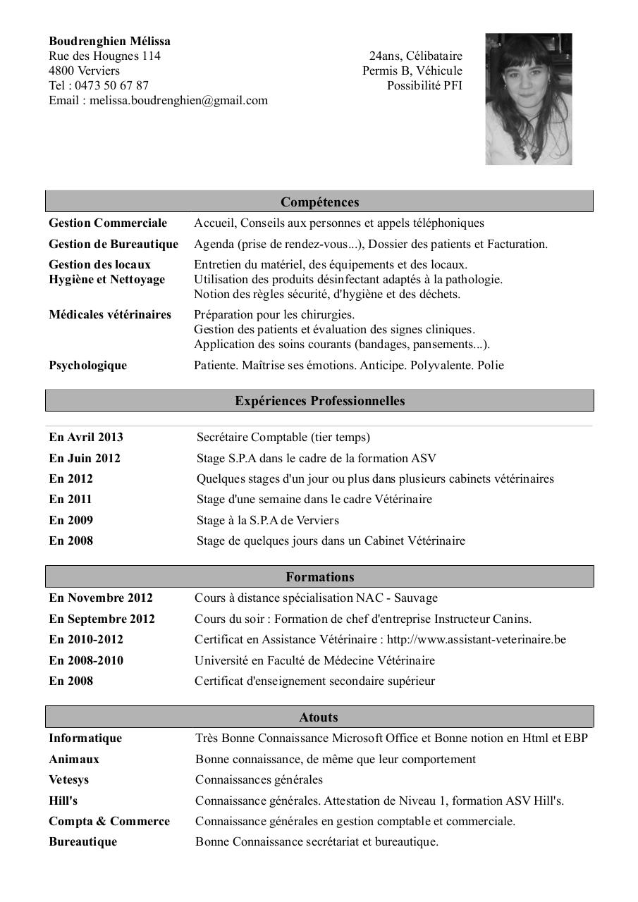 cv assistant veterinaire