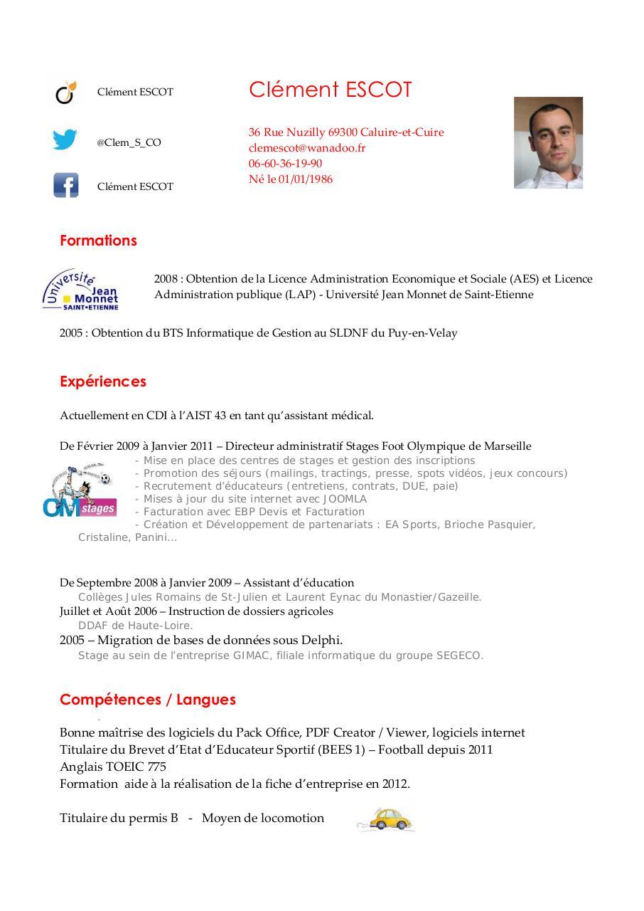 competences assistant d education cv