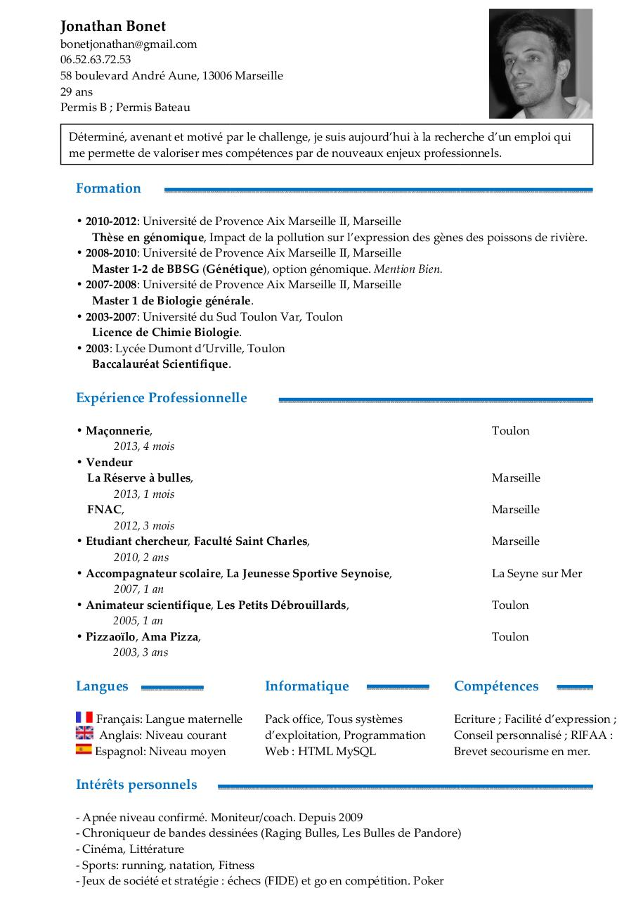cv niveau de langue anglais scientifique