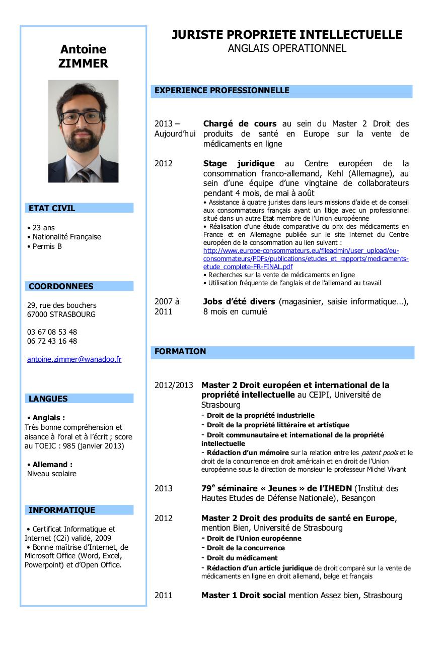 modele cv europe comission europeenne