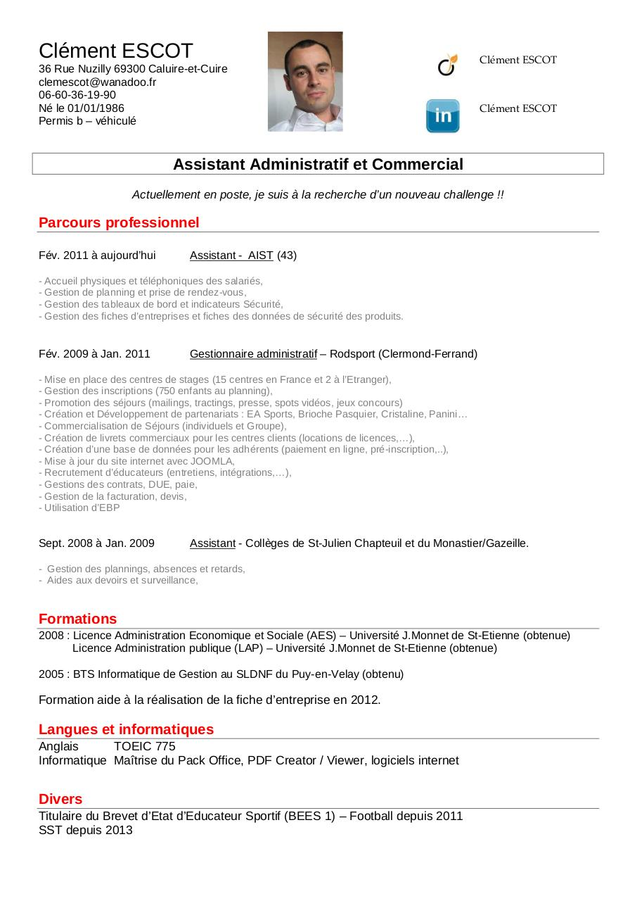 cv assistant commercial banque