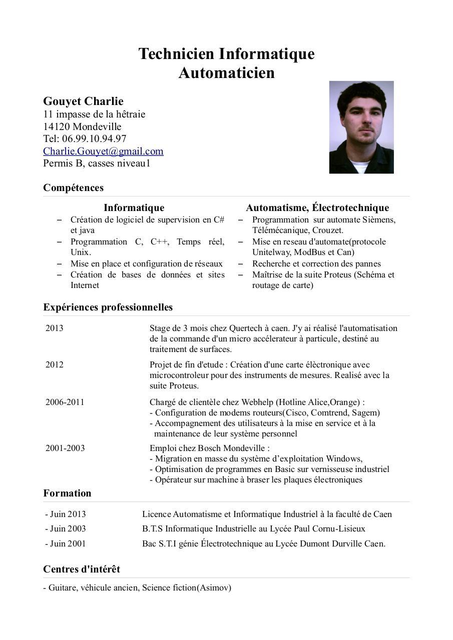 cv automatisme et informatique industrielle pdf