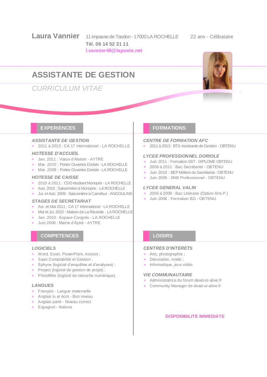 cv anglais disponibilite immediate