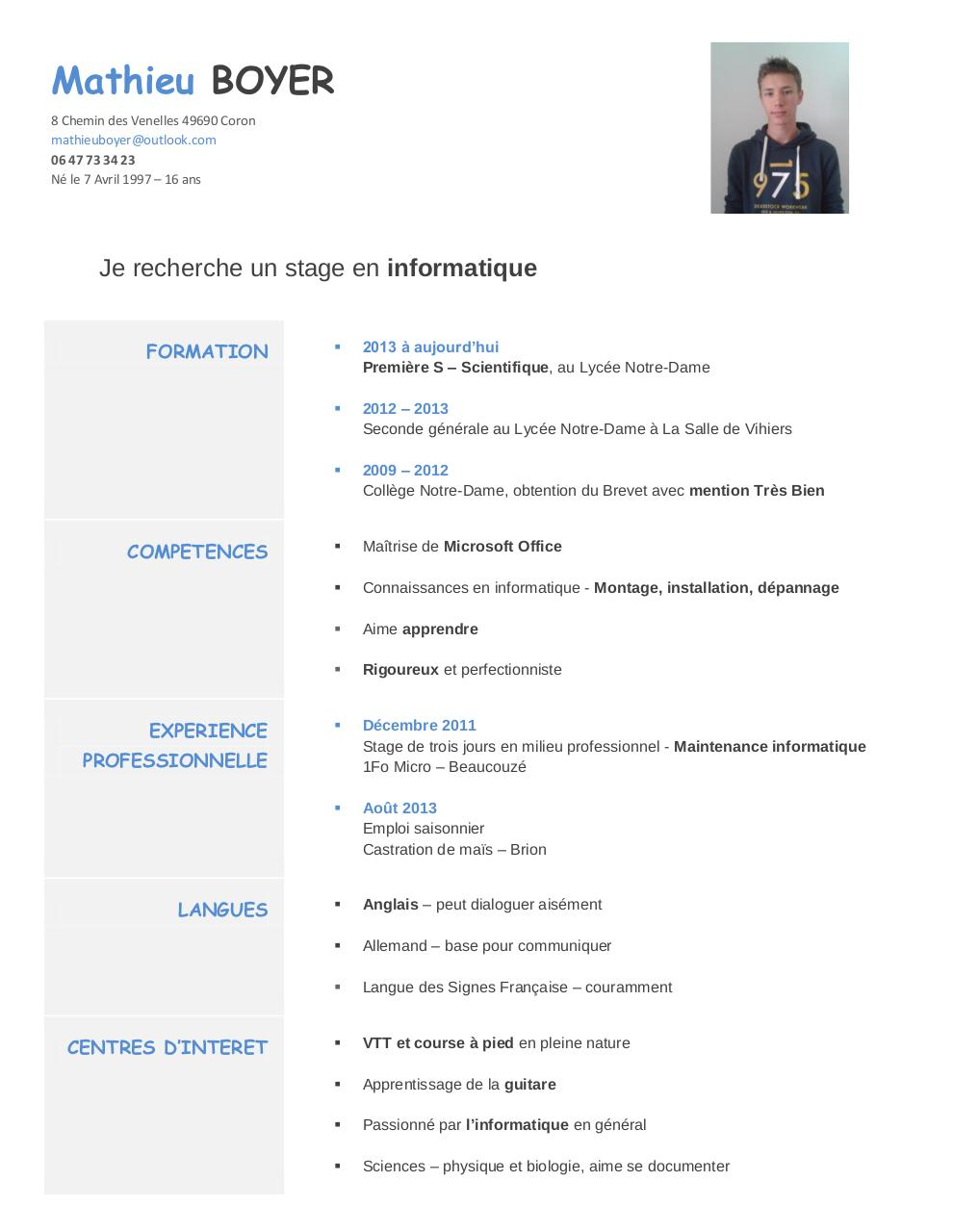 cv stage informatique