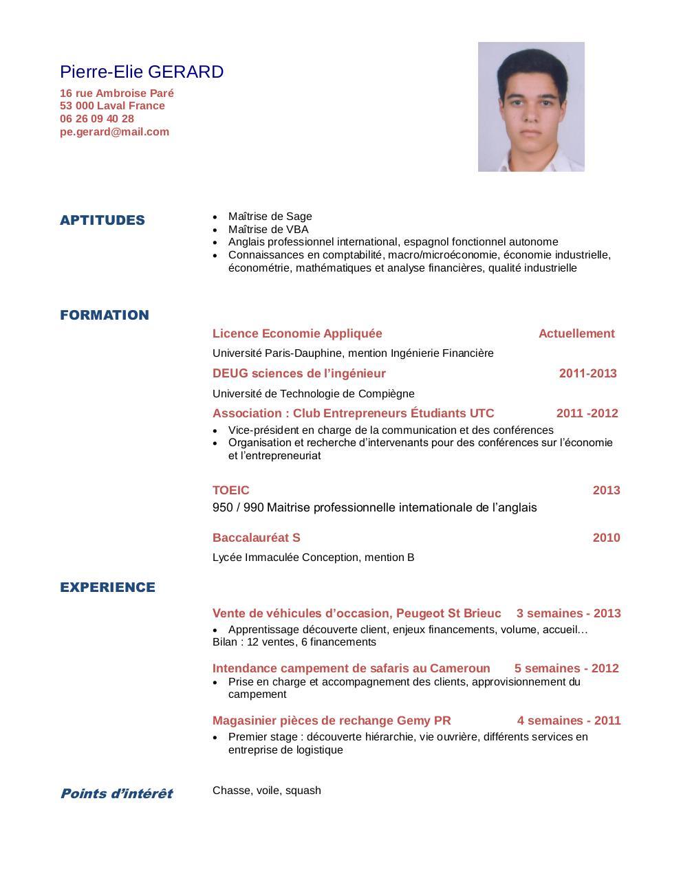 cv licence mathematiques anglais