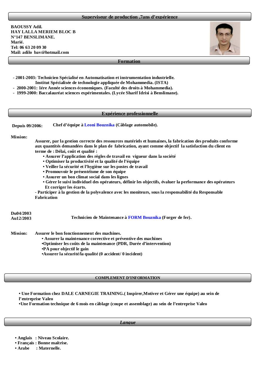 cv emploi maintenance industrielle